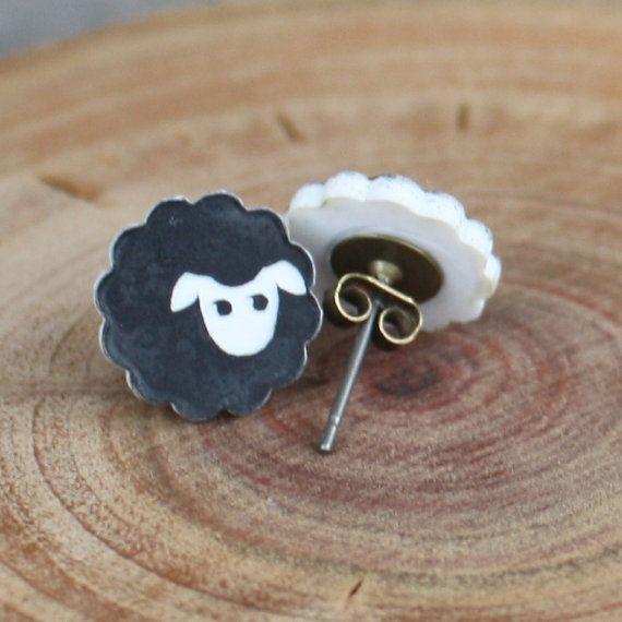 Black Sheep Studs  Black Sheep Post Earrings  by EveryBeadofMyArt
