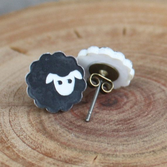 Black Sheep Studs  Black Sheep Post Earrings  by EveryBeadofMyArt