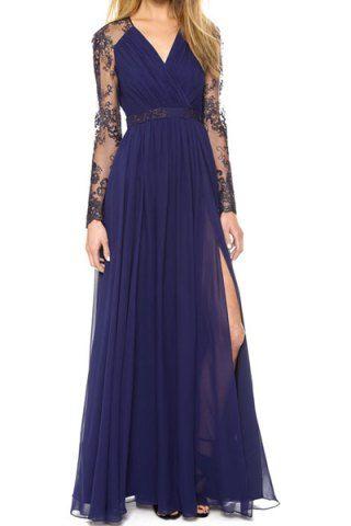Vintage Plunging Neck Long Sleeve Furcal Spliced Women's Dress Maxi Dresses | RoseGal.com Mobile
