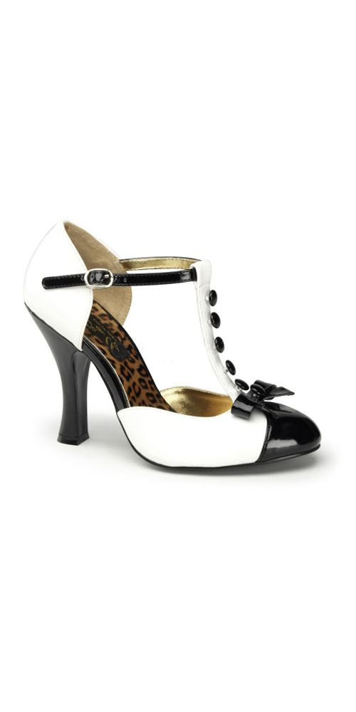 Buttons shoe T-Strap Pump with buttons, mini bow accent and a four inch heel. Price: $125 Sizes: 6 to 11