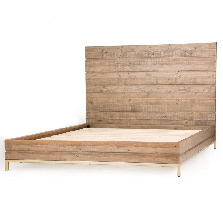 tiller brass u0026 reclaimed wood low platform bed queen