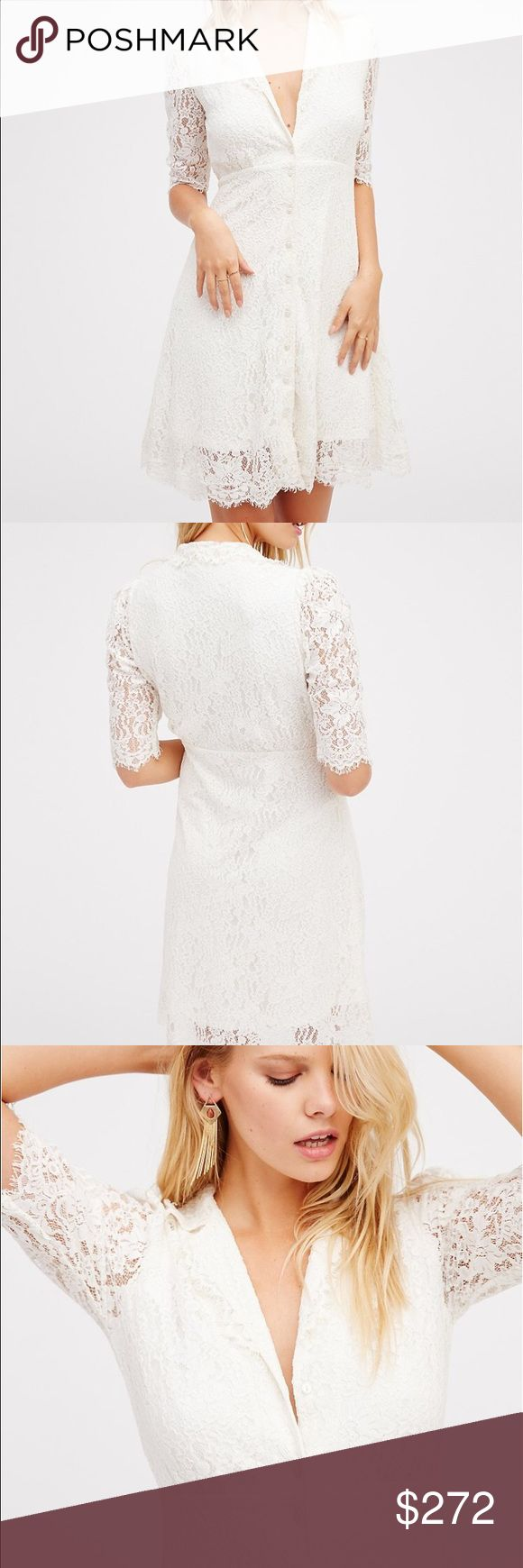 Free People Lace Mini A true vintage look, this darling lace dress features a modest shape with front button closures and sheer quarter length sleeves. Super stretchy lining. Free People Dresses Mini