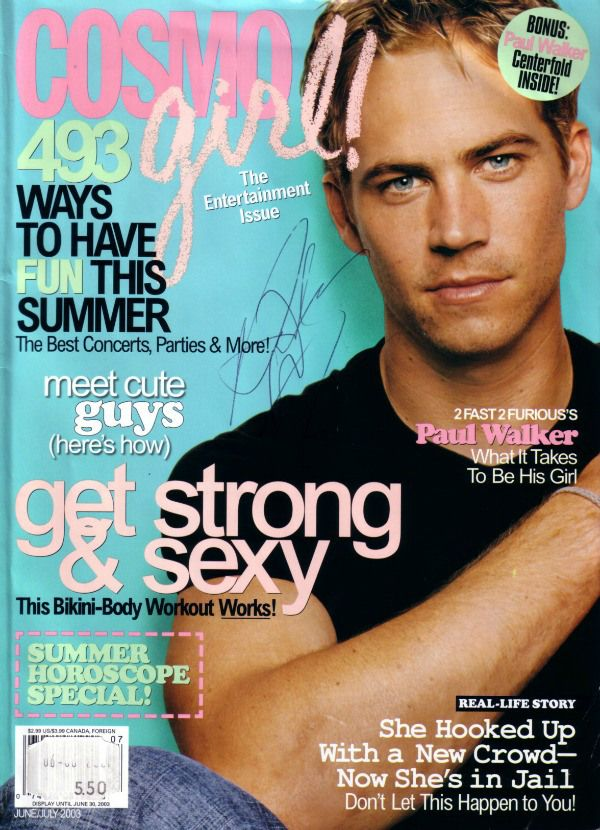 Paul Walker Interview in CosmoGIRL Magazine – The actor spoke about driving fast cars, what kind of dad he hoped to be at 40 and what he wanted to do before he died. Click for chilling excerpts.