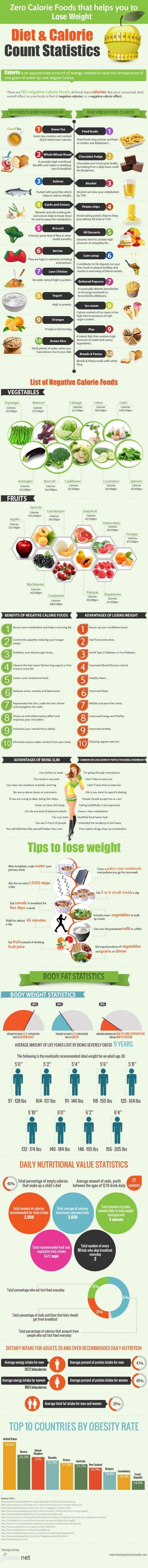 Zero calorie foods that helps you to lose weight (Bezkaloricke potraviny, ktere vam pomohou zhubnout - infografika)