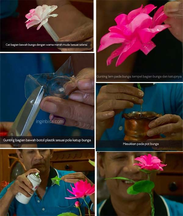 Kerajinan bunga dri botol plastik