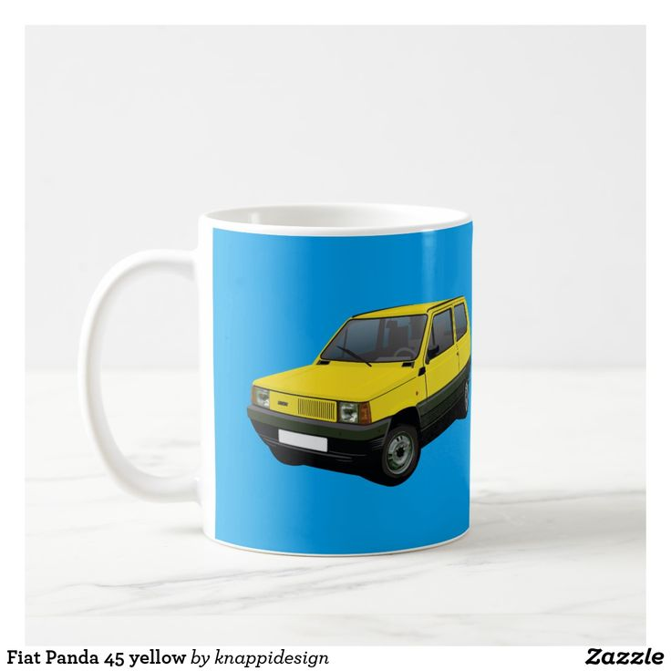 Fiat Panda 45 yellow, two images per coffee mug. Change background color and check out other color options too.  #fiat #fiatautomobile #automobile #panda #fiatpanda #panda45 #fiatpanda45 #italiancars #cars #carillustration #cafe #caffe #kaffemuggar #coffeemug #mukit #auto #machine #automobiles #classiccars