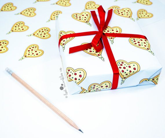 Pizza Gift Wrap  Funny Wrapping Paper  Birthday Gift by Lost Marbles Co