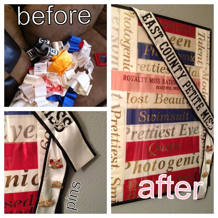 Make an awesome piece of art with old pageant sashes. All you need is a poster frame, some tape and some creativity
