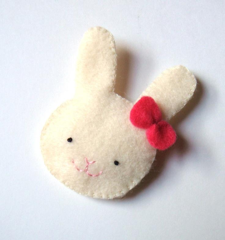 Felt brooch Cute Bunny Rabbit Pin Handmade Accessory Woodland MiKa Art. $7.99, via Etsy.