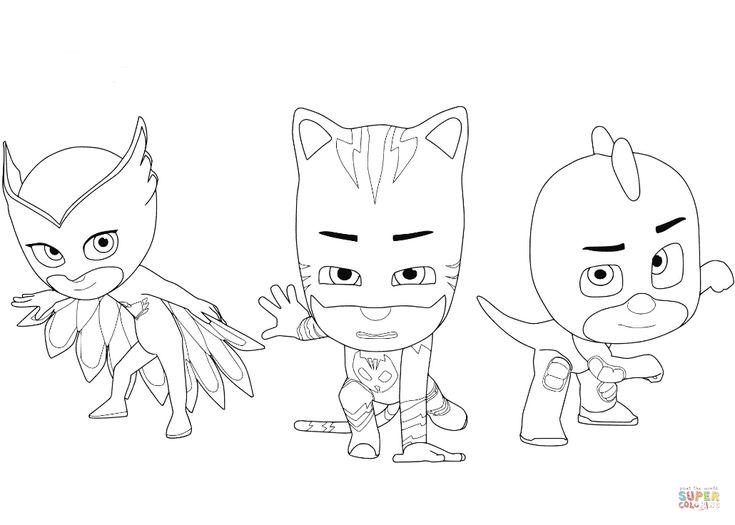 owlette, catboy and gecko | super coloring | páginas para