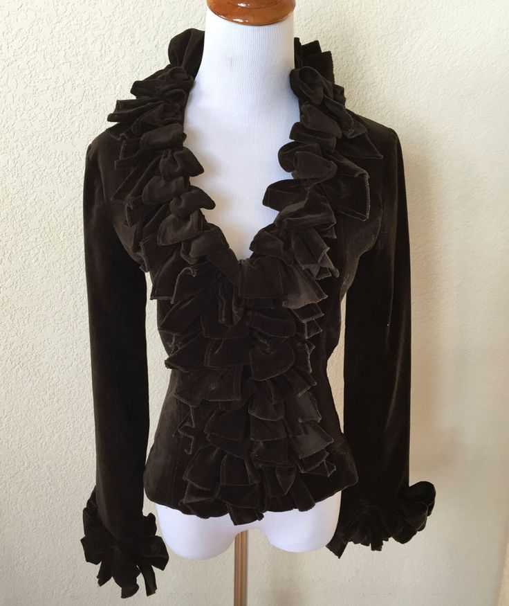 ANNE FONTAINE Brown Ruffled VELVET Marque Blouse Jacket KIMMY Corset Top Size 1 #AnneFontaine #Blouse