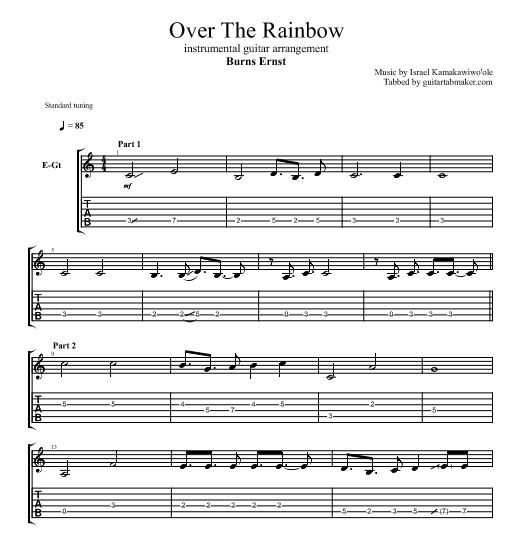 """Burns Ernst - Over the Rainbow guitar TAB click """"VISIT"""" to get the TAB"""