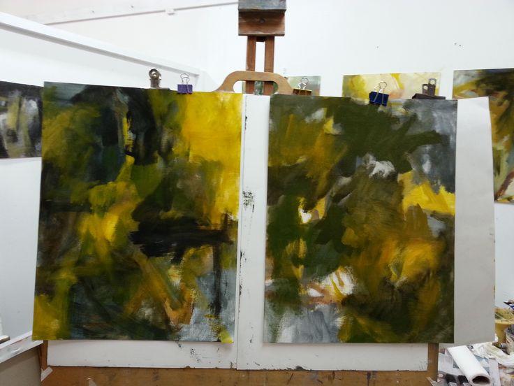 Golden Shadows works in progress by Gail Barfod oil on paper studio shot https://www.facebook.com/gailbarfodartist