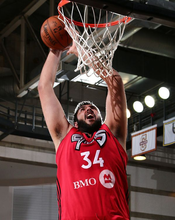 Raptors 905 Center SIM BHULLAR (34) attempts a shot under the basket in the first half of a NBA D-league regular season basketball game between the Delaware 87ers and the Raptors 905