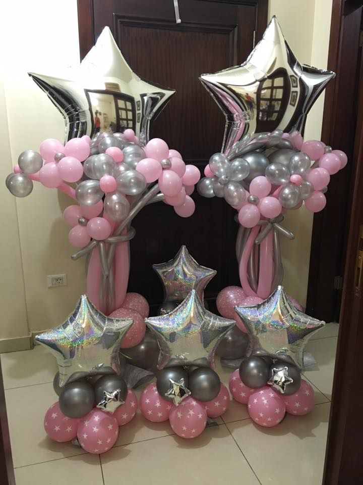 balloon column shiny star pink and silver