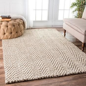 Ivory and Beige Chevron Jute Rug