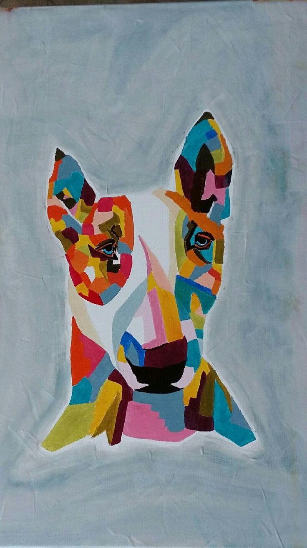 bull terrier acrylique couleurs vives abstrait