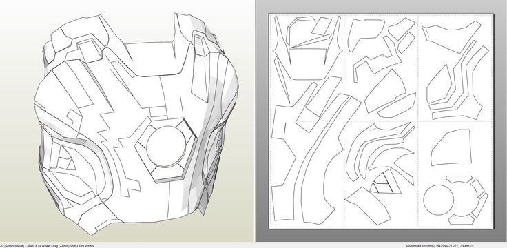 Papercraft .pdo file template for Iron Man - Mark 45 Full Armor +FOAM+.