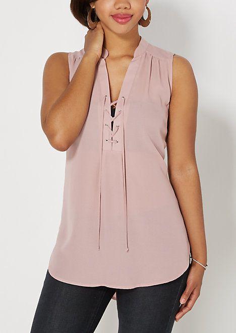 Pink Lace-Up Chiffon Blouse | rue21