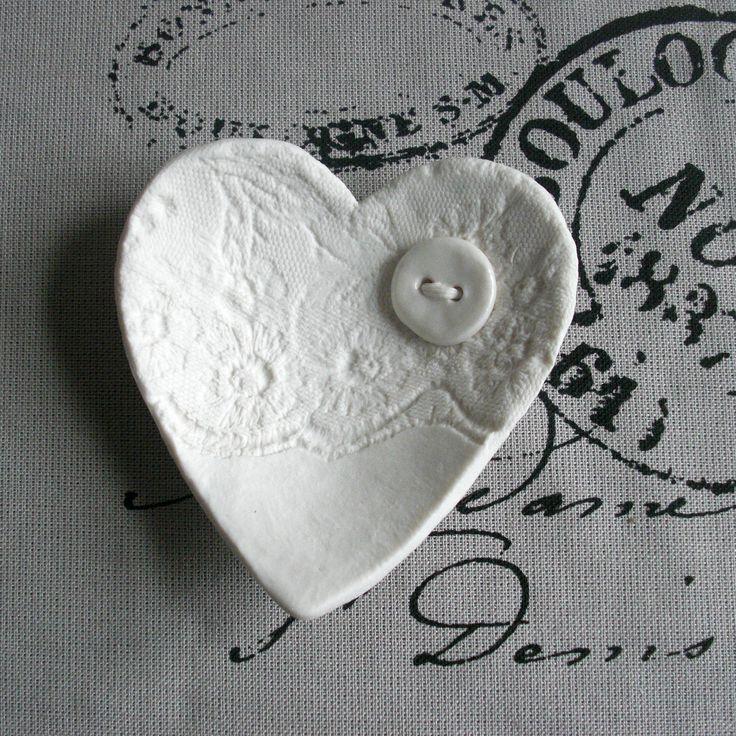 Lacy heart trinket dish ceramic white porcelain wedding favour nibbles soap tea bags button detail