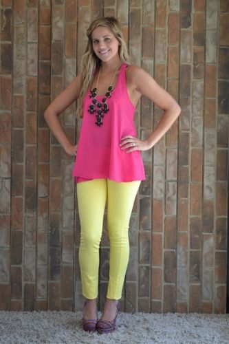 Yellow skinnies, pink tank, and a black Bubble Necklace: Mi Style, Fashionista
