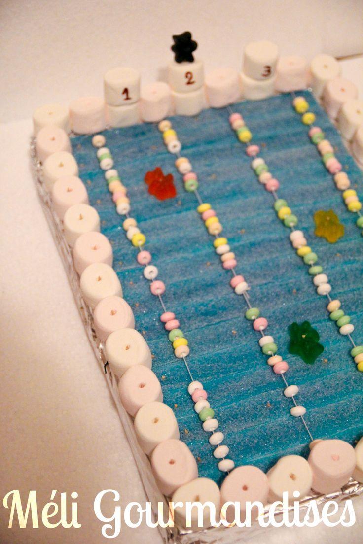 Piscine en bonbons pour l'anniversaire d'un nageur.
