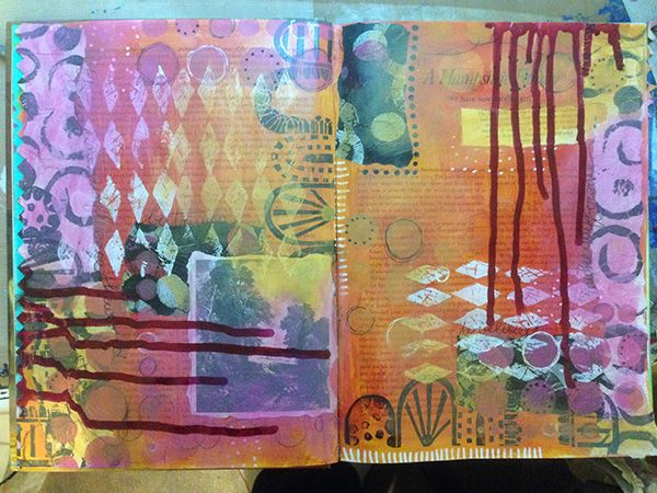 eNKay Design - spread in my altered book - inspired by Ro Bruhn