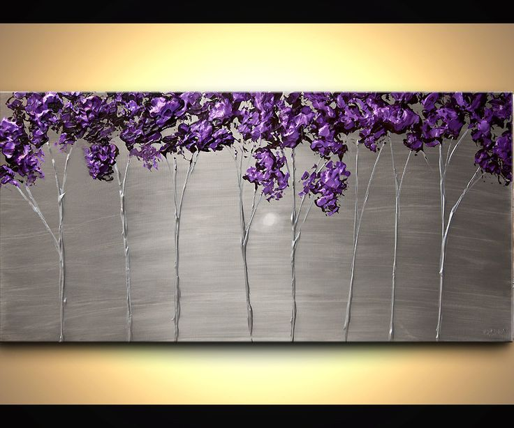 Abstract Contemporary Purple Silver Acrylic Trees por OsnatFineArt