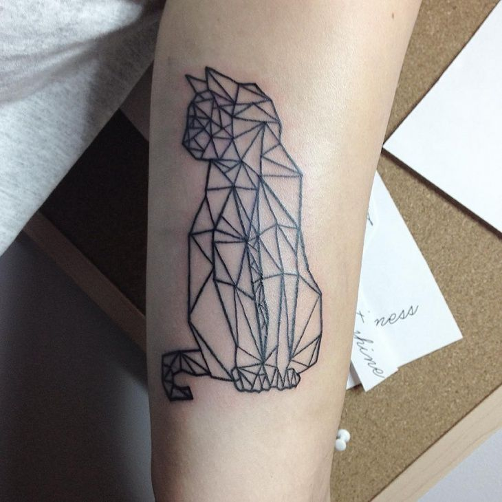 Geometric Cat Tattoo Design Geometric Cat Tattoo Rose Tattoos For Men Half Sleeve Tattoo