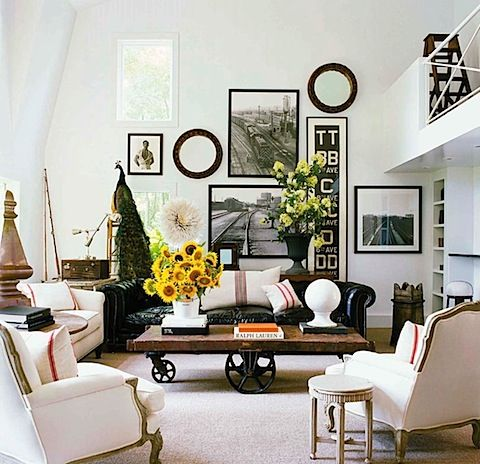 Great lightCoffe Tables, Coffee Tables, Living Rooms, Elle Decor, Livingroom, Industrial Chic, Gallery Wall, Country Interiors, Wall Arrangements