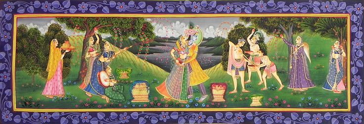 Gopis and Gopinis Playing Holi with Radha and Krishna (Miniature Painting on Silk Cloth - Unframed))