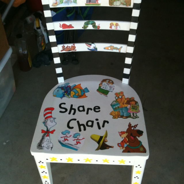 Share chair. We bought books at the salvation army for 55 cents, used mod podge spray and viola!