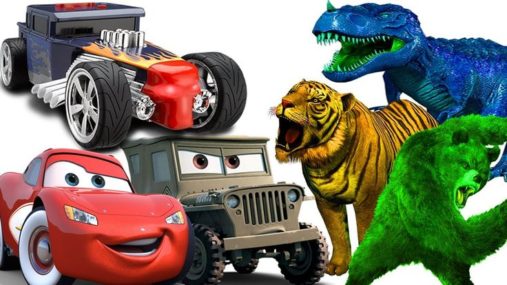 Learn Colors With Vehicles Wild Animals For Children Toddlers Dinosaurs ...