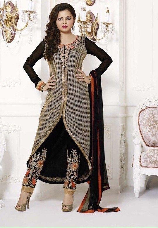 1af6dde8b2ba Drashti Dhami Stupendous Black Georgette Pant Style Salwar Suit Buy ...