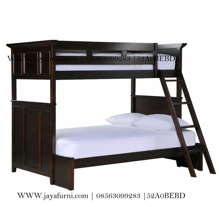 model terbaru Tempat Tidur Tingkat Minimalis Kayu jati dengan 2 bed susun jadilebih simpel tidak memakan ruangan kamar , modl unik solusi kamar minimalis.