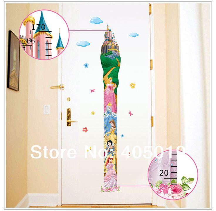 diy princess room decor | Princess Wall Stickers Kids Height Chart 170cm Baby Room Decor DIY ...