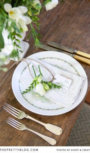 Farm wedding inspiration   Table setting   Photographer: Shoot and Create