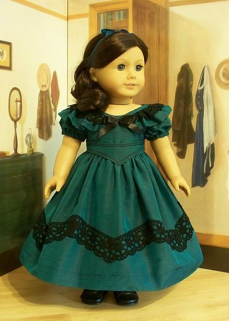 1850's Teal Silk Dupioni Gown with Sash Belt by Keepersdollyduds, via Flickr