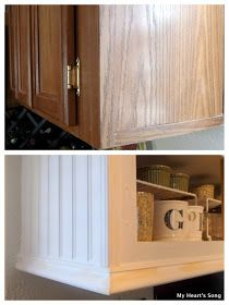 Farmhouse Kitchen - tips on how to reface cabinets, using beadboard, trim and caulk - My Heart's Song: Kitchen Makeover - Phase Two