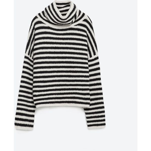 Zara Striped Sweater ($50) ❤ liked on Polyvore featuring tops, sweaters, tan, zara sweaters, white striped sweater, white top, tan top и stripe sweater