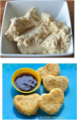 Healthy Chicken Nuggets -http://www.superhealthykids.com/healthy-kids-recipes/toddler-perfect-chicken-nuggets.php Try by doubling the meat, adding a cup of steamed cauliflower or other planned looking veggie to the purée