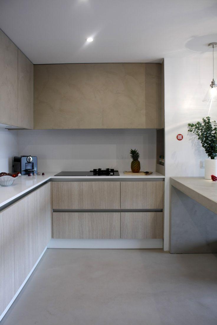 Cocina de microcemento y madera my work pinterest - Microcemento en cocinas ...