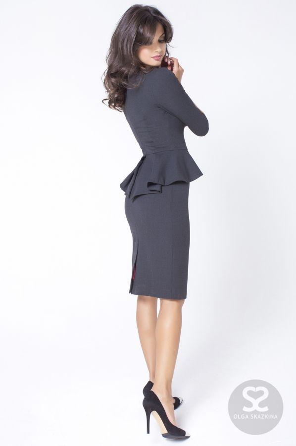 Платье с баской из костюмной ткани. | Skazkina