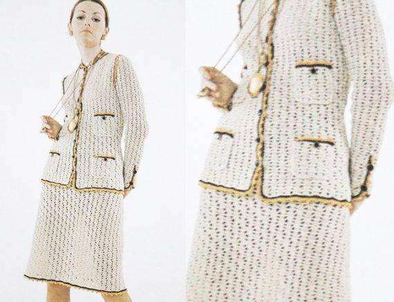 Crochet blazer suit set skirt jacket office by GrandmaHadItGoinOn, $2.38