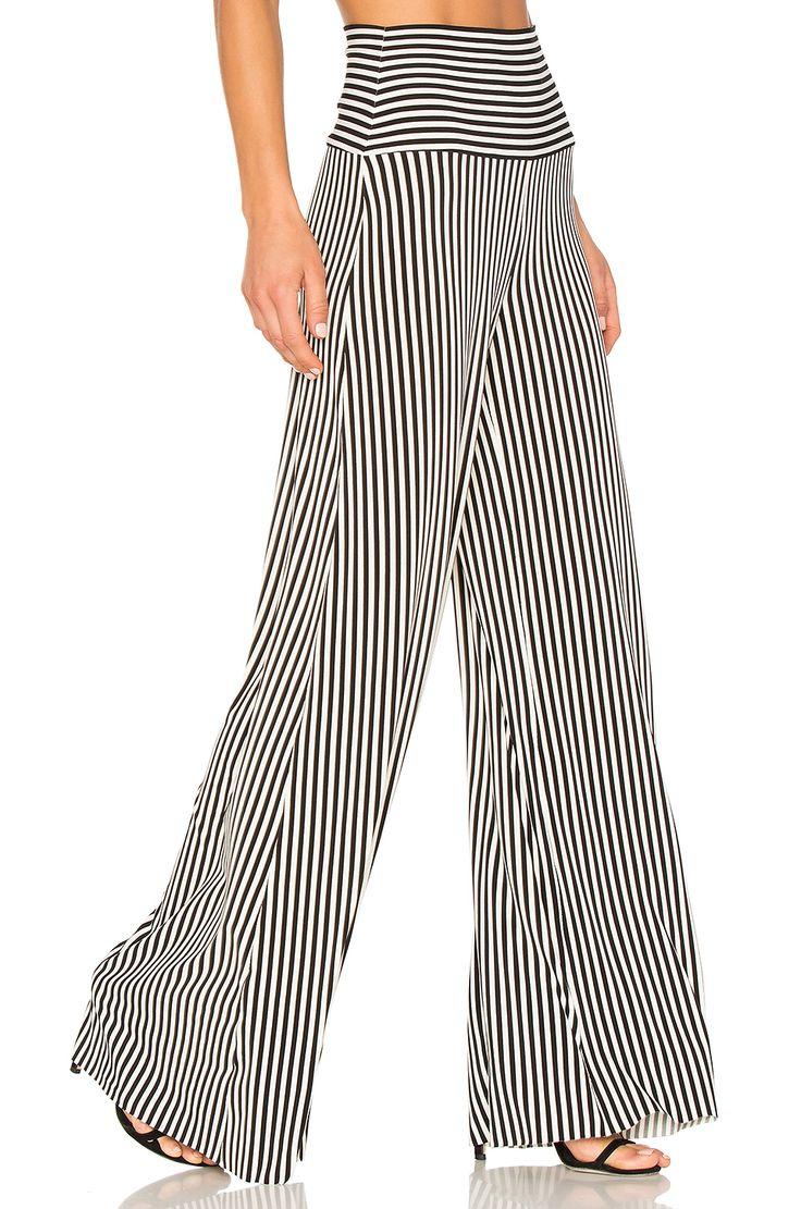 Norma Kamali Vertical Stripe Elephant Pant in Ivory & Black Stripe