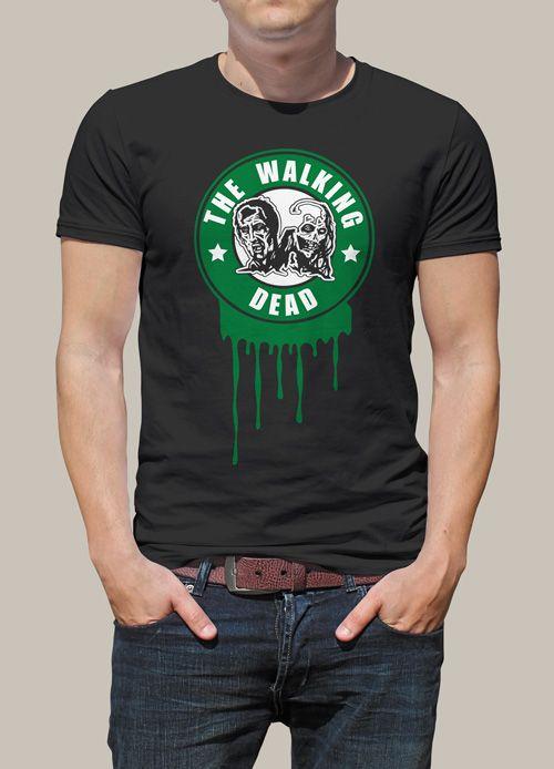 """Tee shit personnalisé imprimé, parodie de """"The Walking Dead"""" avec la reprise du logo Starbucks. Tee shirt personnalisé, modèle homme et femme.  Ce t shirt geek zombie humoristique fera plaisir à tous les fans de la série !"""