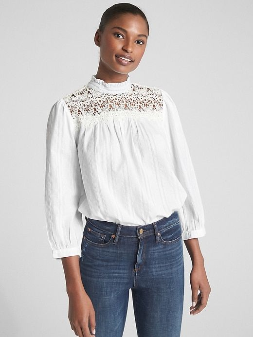 be7c40790f Crochet Lace-Trim Mockneck Blouse in 2019 | Products | Crochet lace ...