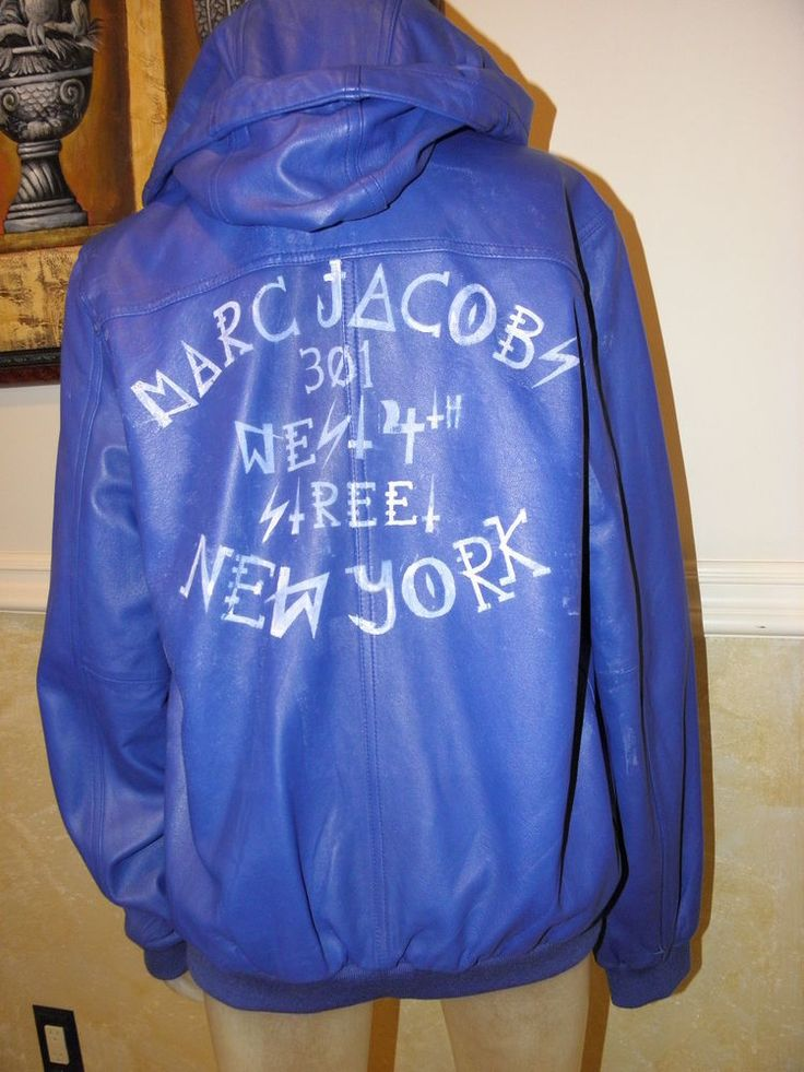 JACOBS BY MARC JACOBS MEN'S BLUE  LEATHER JACKET, MEDIUM , BRAND NEW. #MARKJACOBS #LEATHERJACKET