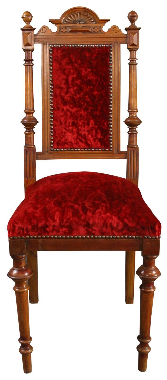 1900 Antique Dining Chair Renaissance Red Velvet Velour French