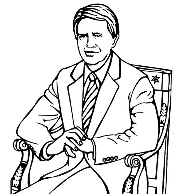 Free coloring pages of jimmy carter for Jimmy carter coloring page